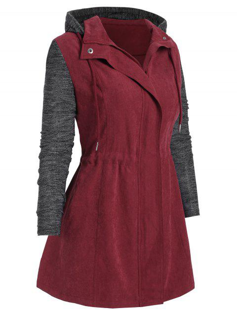 Zip Up Drawstring Detachable Hood Marl Sleeve Plus Size Coat - RED WINE 5X