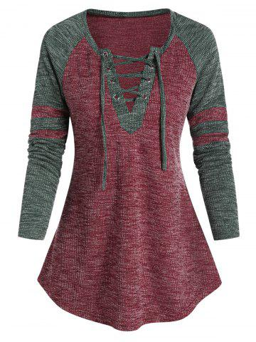 Raglan Sleeve Lace-up Contrast Ribbed T-shirt