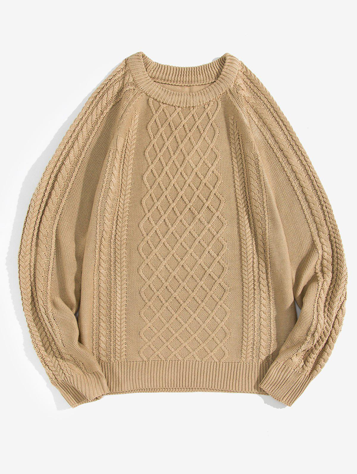 Solid Color Cable Knit Pullover Sweater - KHAKI XS