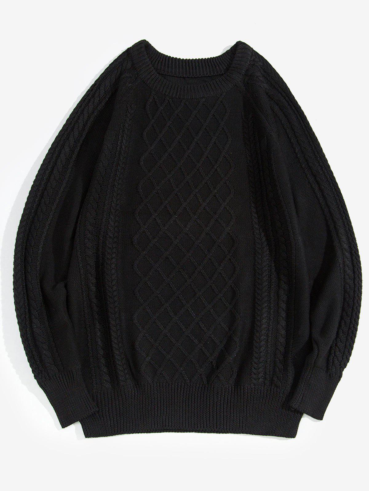 Solid Color Cable Knit Pullover Sweater - BLACK XS