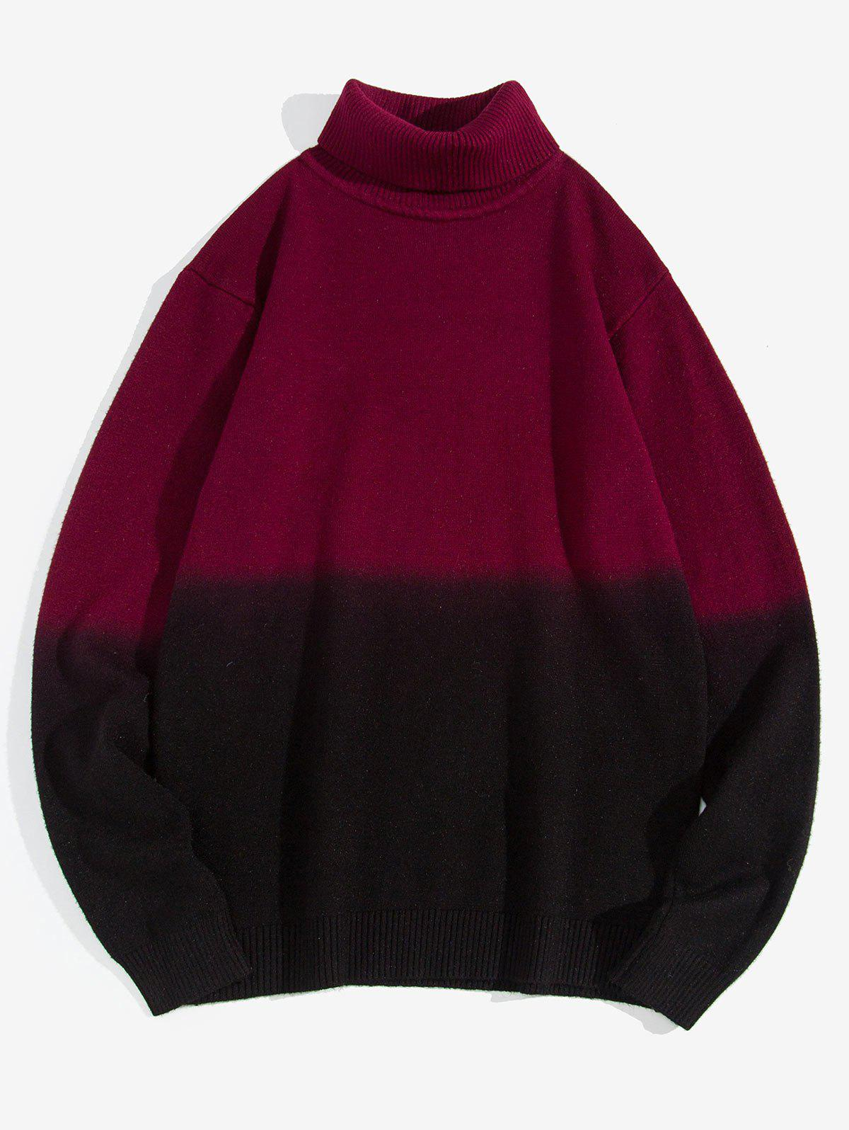 Turtleneck Two-tone Ombre Sweater - RED WINE XS