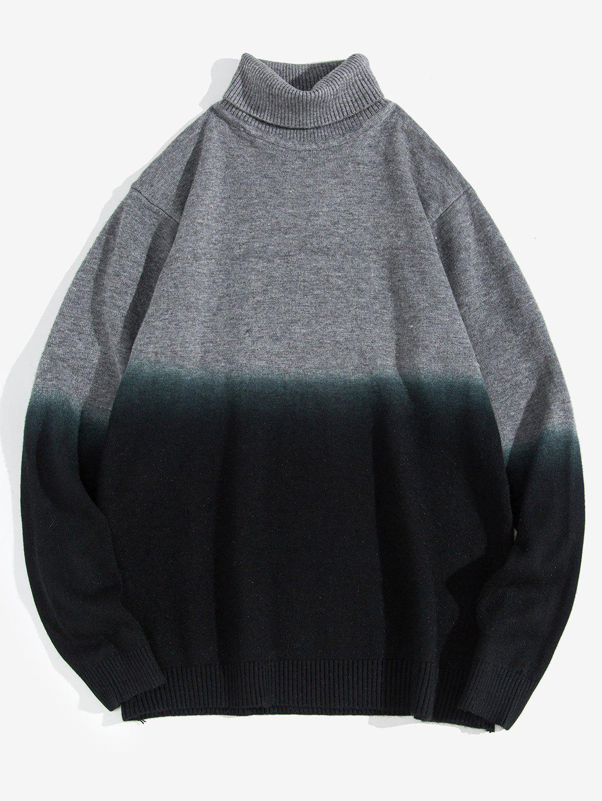 Turtleneck Two-tone Ombre Sweater - GRAY M