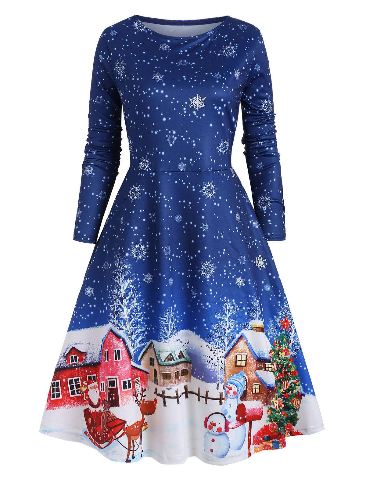Christmas Snowflake Print Plus Size A Line Dress - BLUE 5X