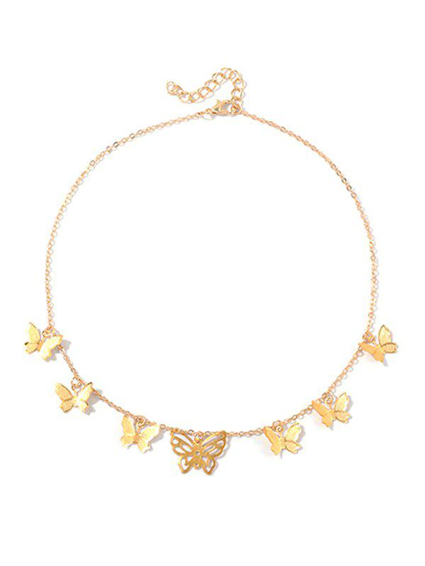 Metallic Hollowed Butterfly Necklace - GOLD
