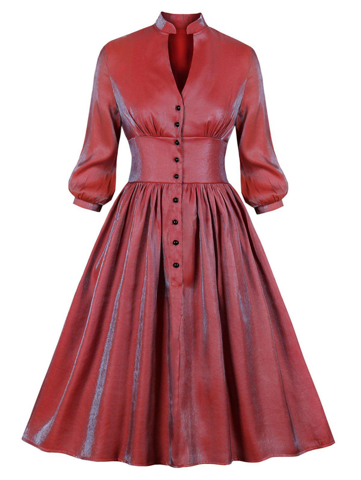 Half Buttoned Reflective Long Sleeve Plus Size Dress - CHERRY RED 3X