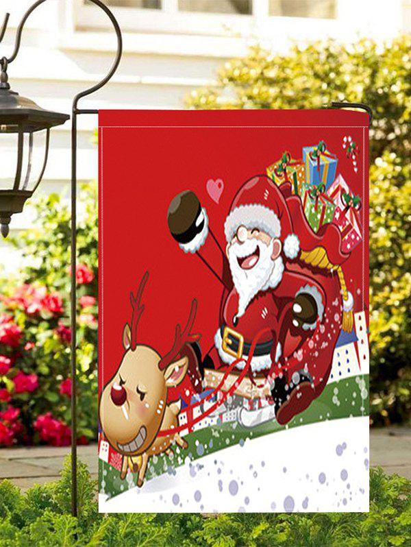 Father Christmas Gift Double Side Decoration Flag - RUBY RED