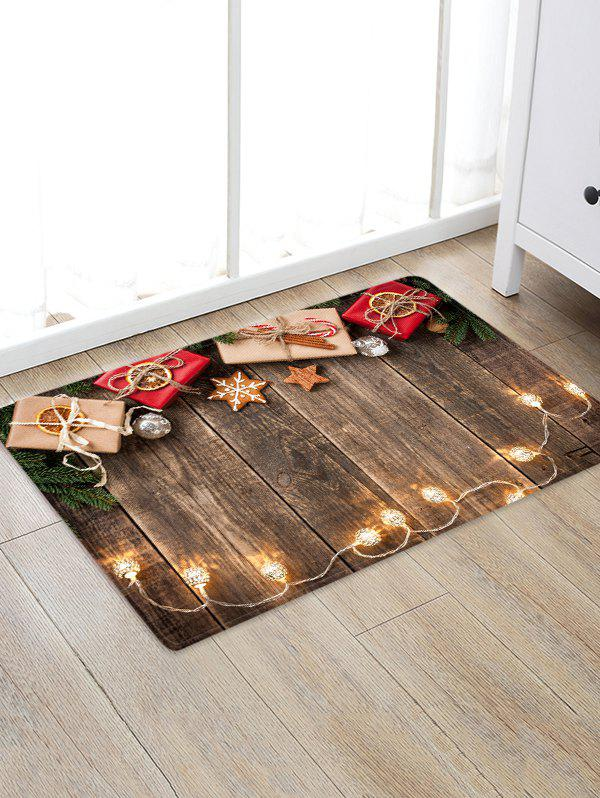Christmas Gift Wooden Pattern Floor Rug - multicolor W16 X L24 INCH