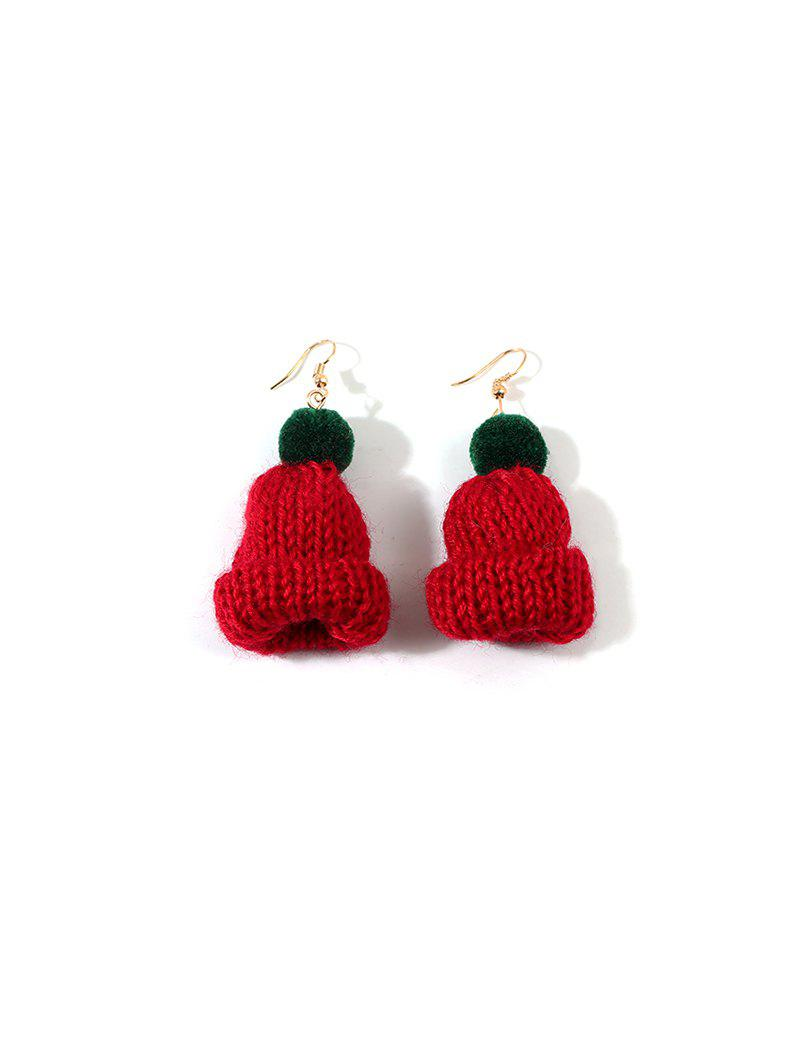 Christmas Bobble Hat Knitted Drop Earrings - RED