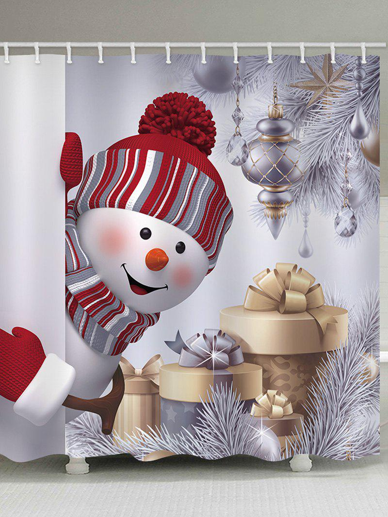 Snowman Waterproof Shower Curtain - WHITE W59 X L71 INCH