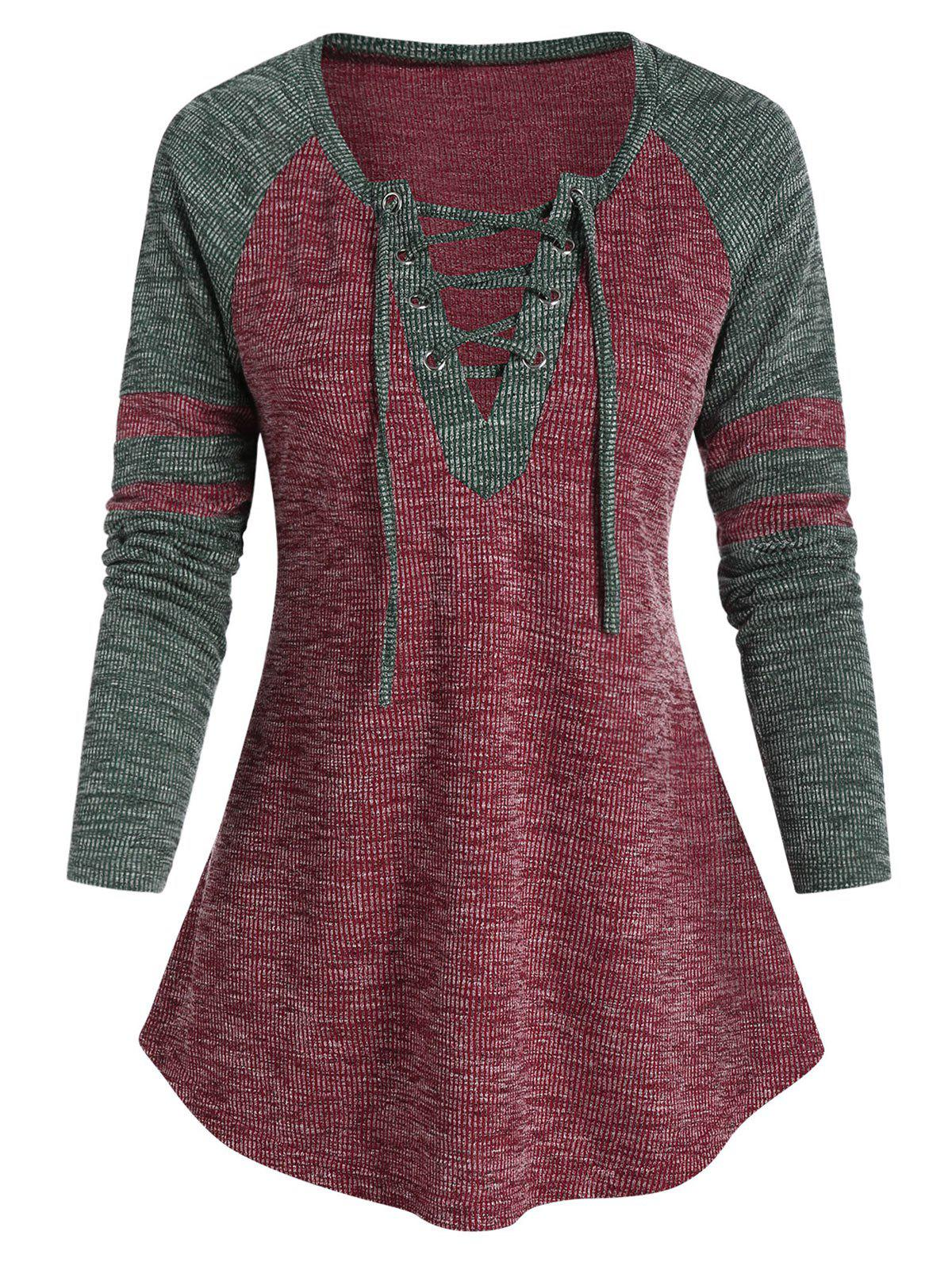 Raglan Sleeve Lace-up Contrast Ribbed T-shirt - RED WINE XL