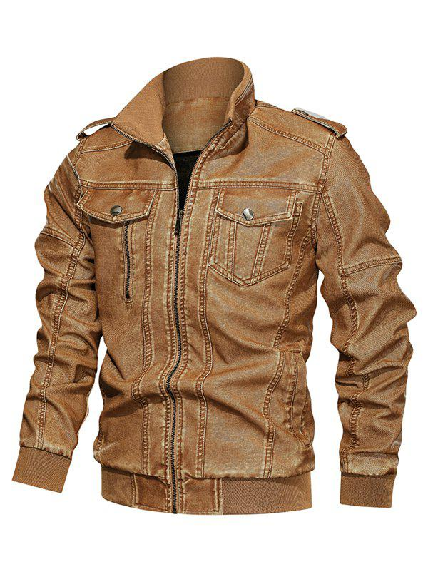 Solid Color Faux Leather Cargo Jacket - BEE YELLOW 2XL