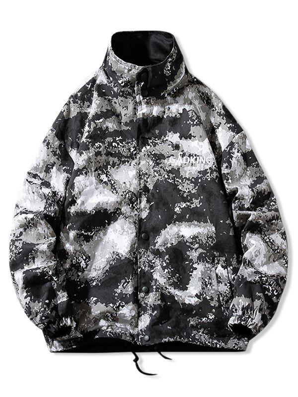 Camo Print Stand Collar Drawstring Hem Reversible Jacket - multicolor C M