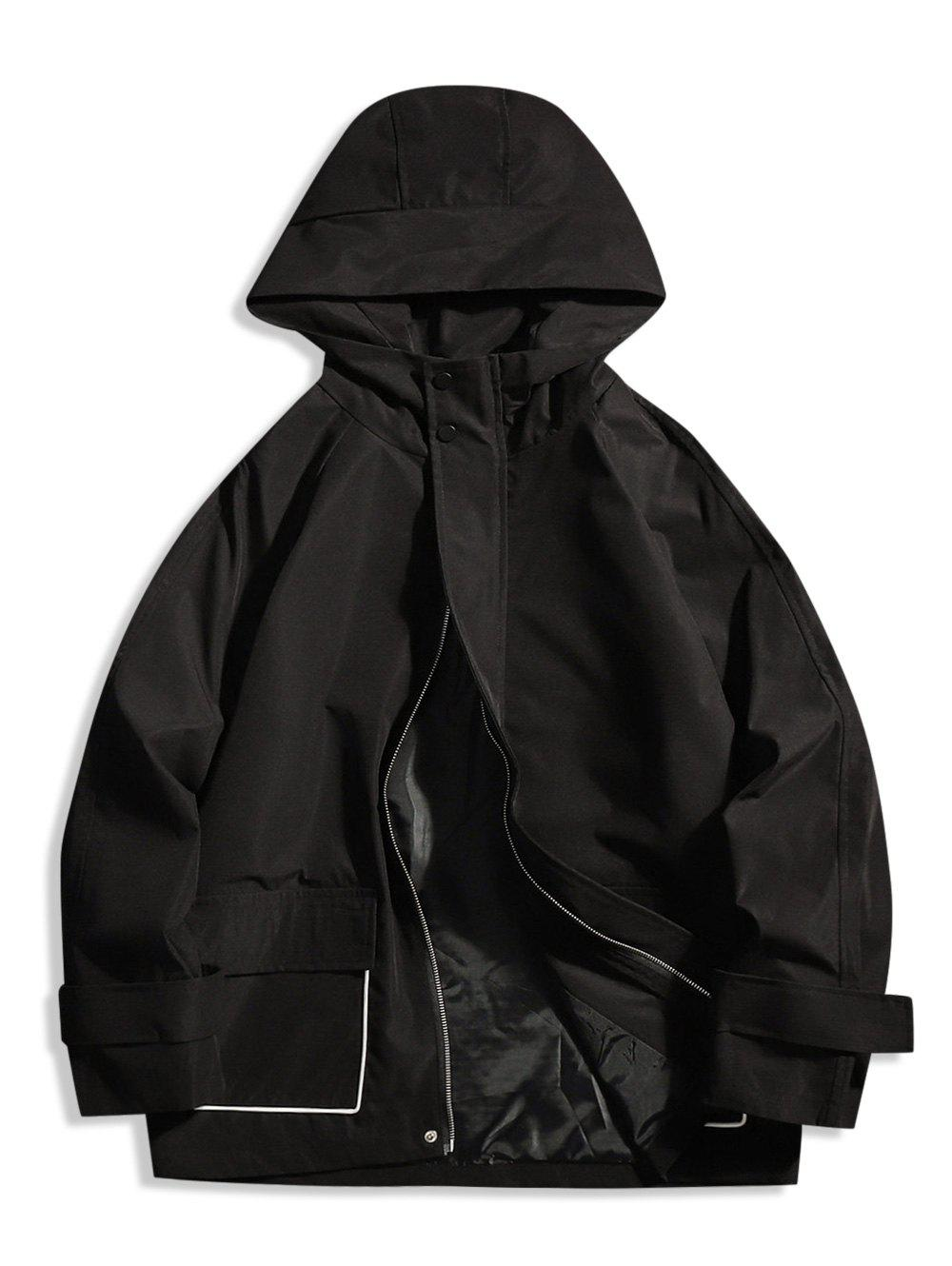 Contrast Piped Hooded Zip Up Jacket - BLACK M