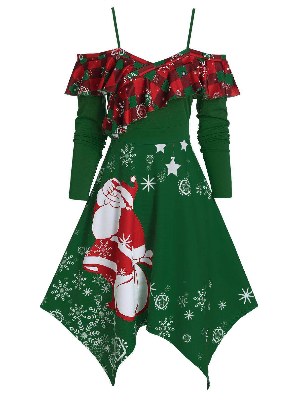 Christmas Handkerchief Ruffled Santa Claus Print Dress - DARK GREEN M