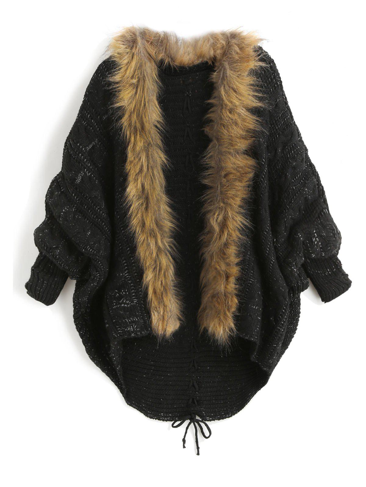 Faux Fur Trim Lace Up Batwing Sleeve Cardigan - BLACK ONE SIZE