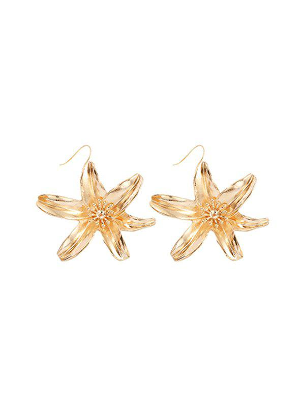 Fresh Style Carved Flower Drop Earrings - GOLD