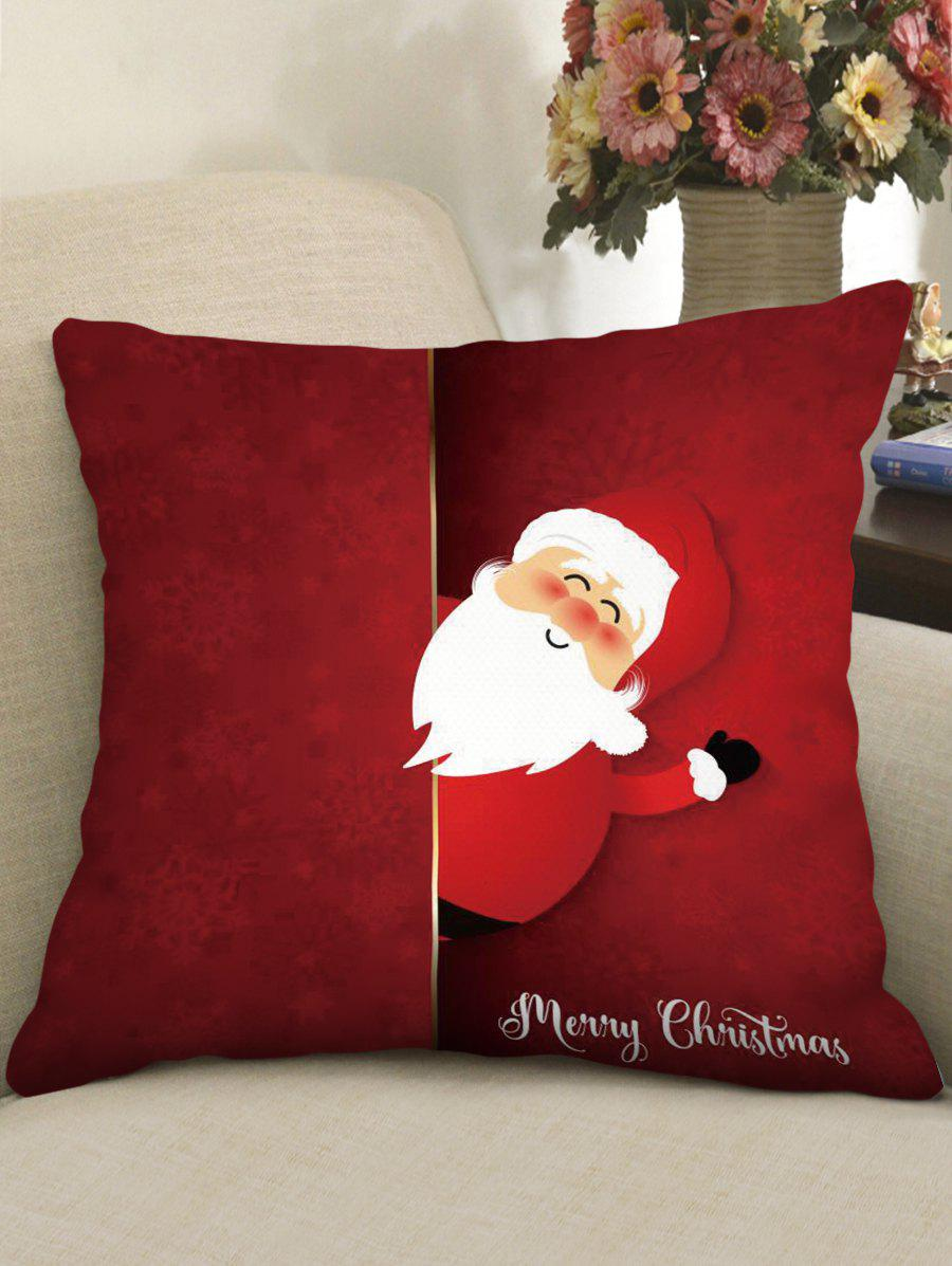 Merry Christmas Santa Claus Polyester Pillow Cover - RED WINE W18 X L18 INCH