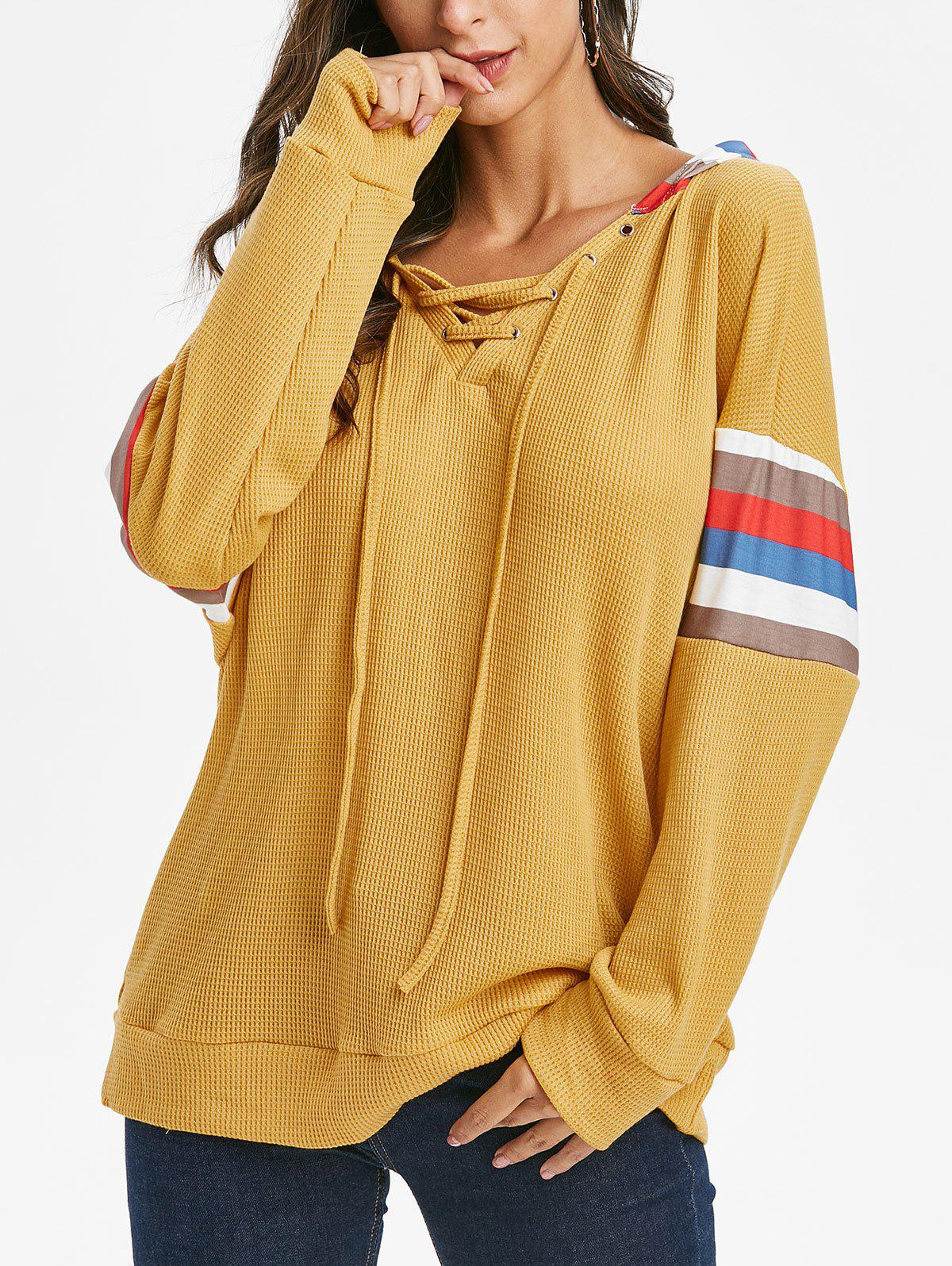 Lace Up Striped Loose Hoodie - GOLDEN BROWN S