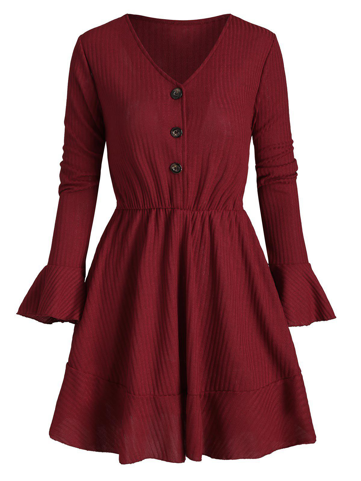 Half Button Poet Sleeves Solid Knit Dress - RED WINE M