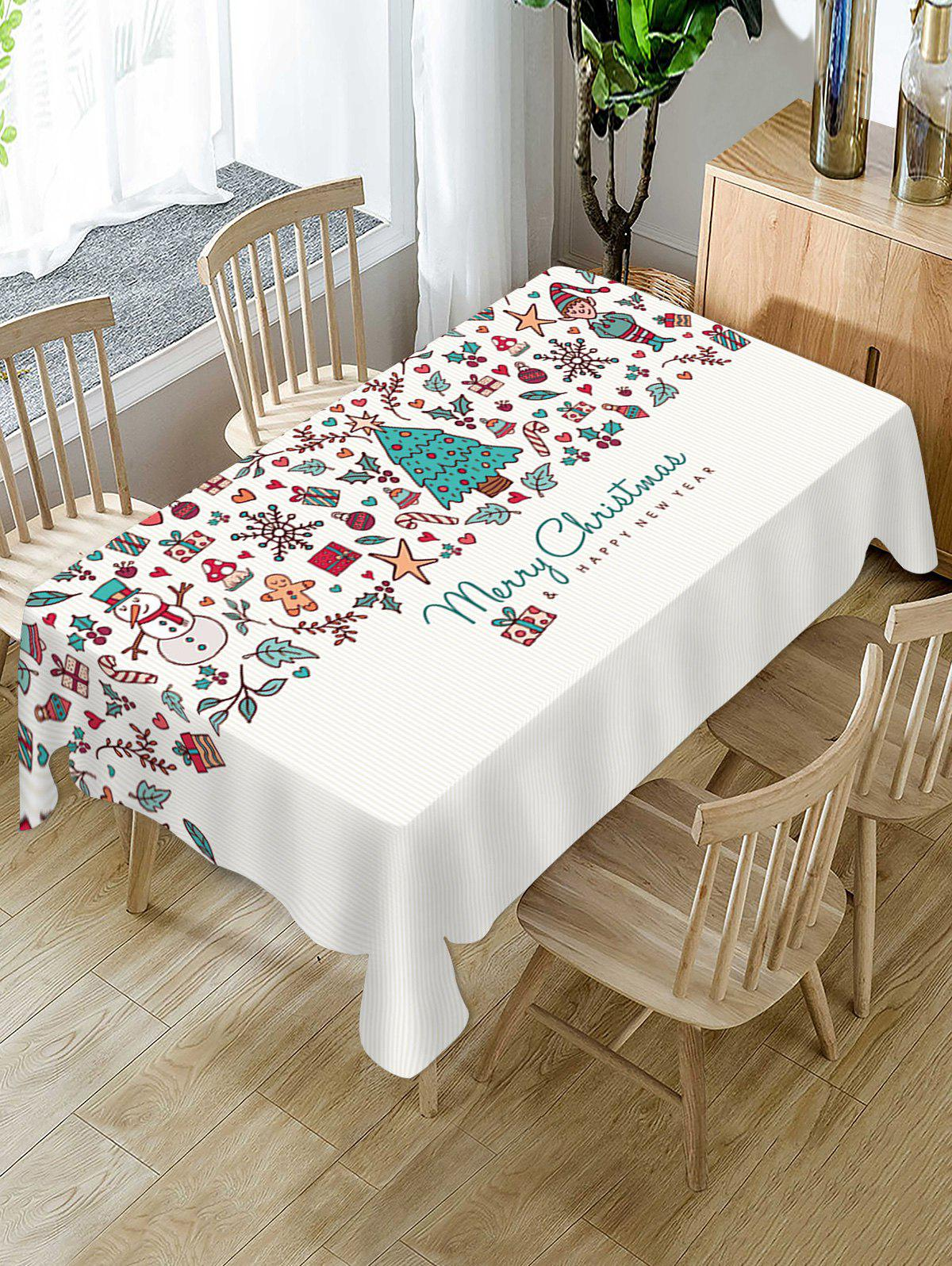 Merry Christmas Tree Fabric Waterproof Table Cloth - WHITE W55 X L55 INCH