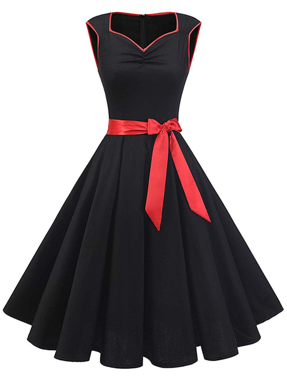 Sweetheart Contrast Piping Belted Rockabilly Style Dress - BLACK 2XL