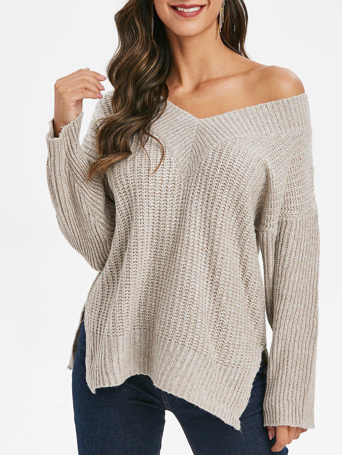 Skew Neck Drop Shoulder Slit Sweater - LIGHT GRAY S