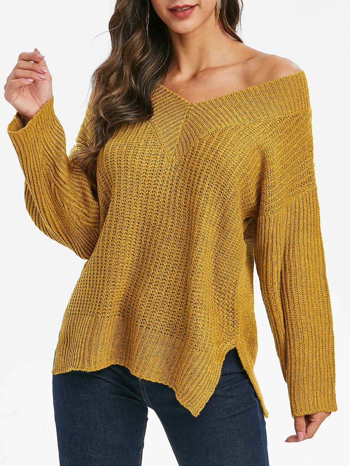 Skew Neck Drop Shoulder Slit Sweater - ORANGE GOLD XL