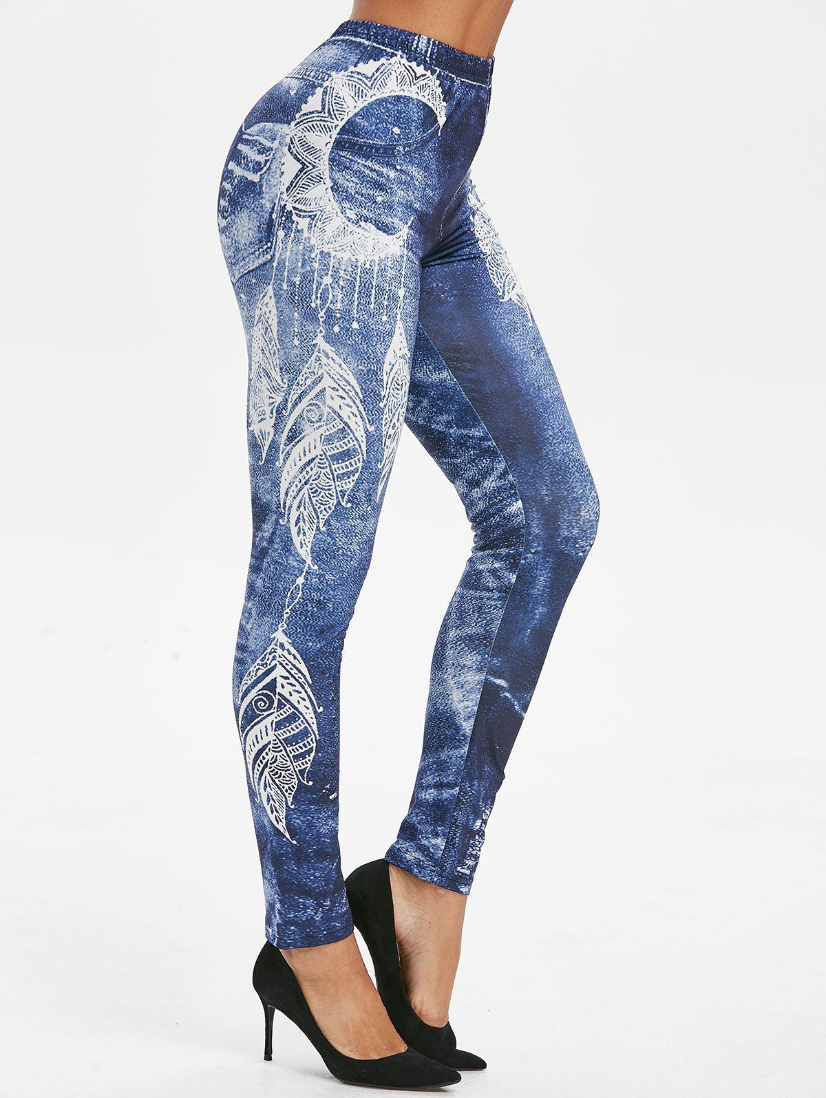 Feather Print High Waist Skinny Leggings - DENIM DARK BLUE 3XL