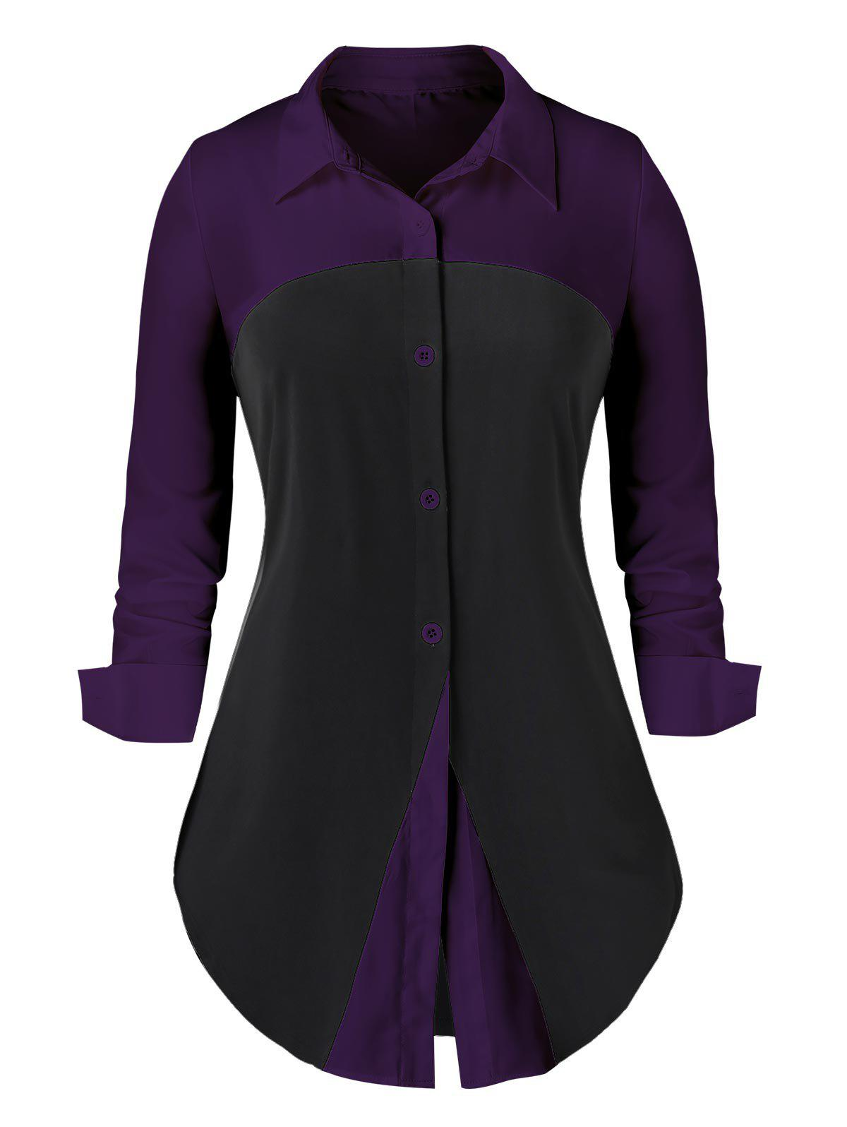 Plus Size Two Tone Curved Long Sleeve Work Shirt - DARK ORCHID M