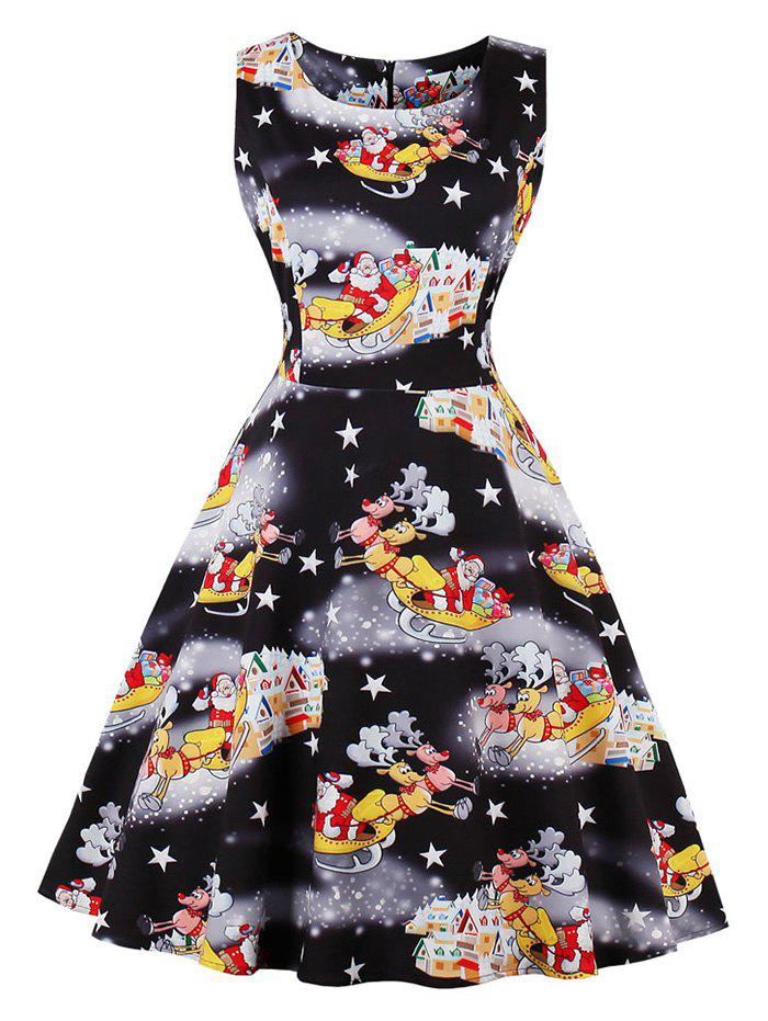 Christmas Santa Claus Star Fit and Flare Dress - BLACK L