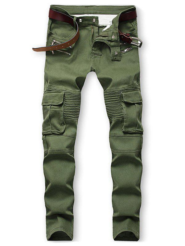 Pocket Design Zip Fly Casual Jeans - ARMY GREEN 36