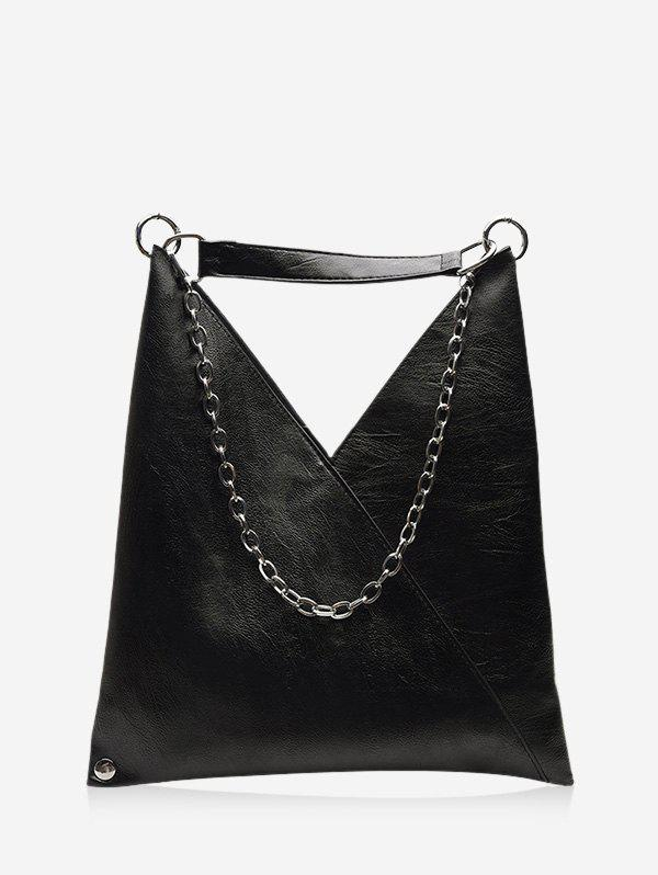 PU Leather Soft Chain Shoulder Bag - BLACK