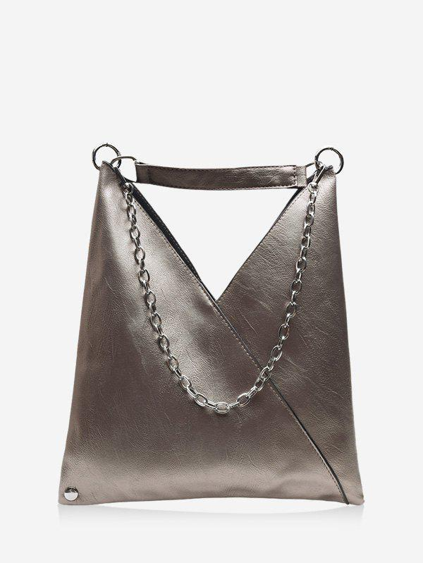 PU Leather Soft Chain Shoulder Bag - CLOUDY GRAY