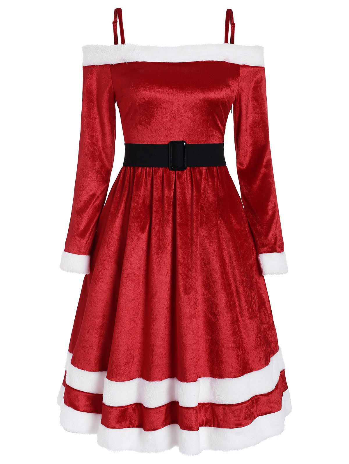 Fur Trim Belt Embellished Velvet Christmas Dress - CHERRY RED L