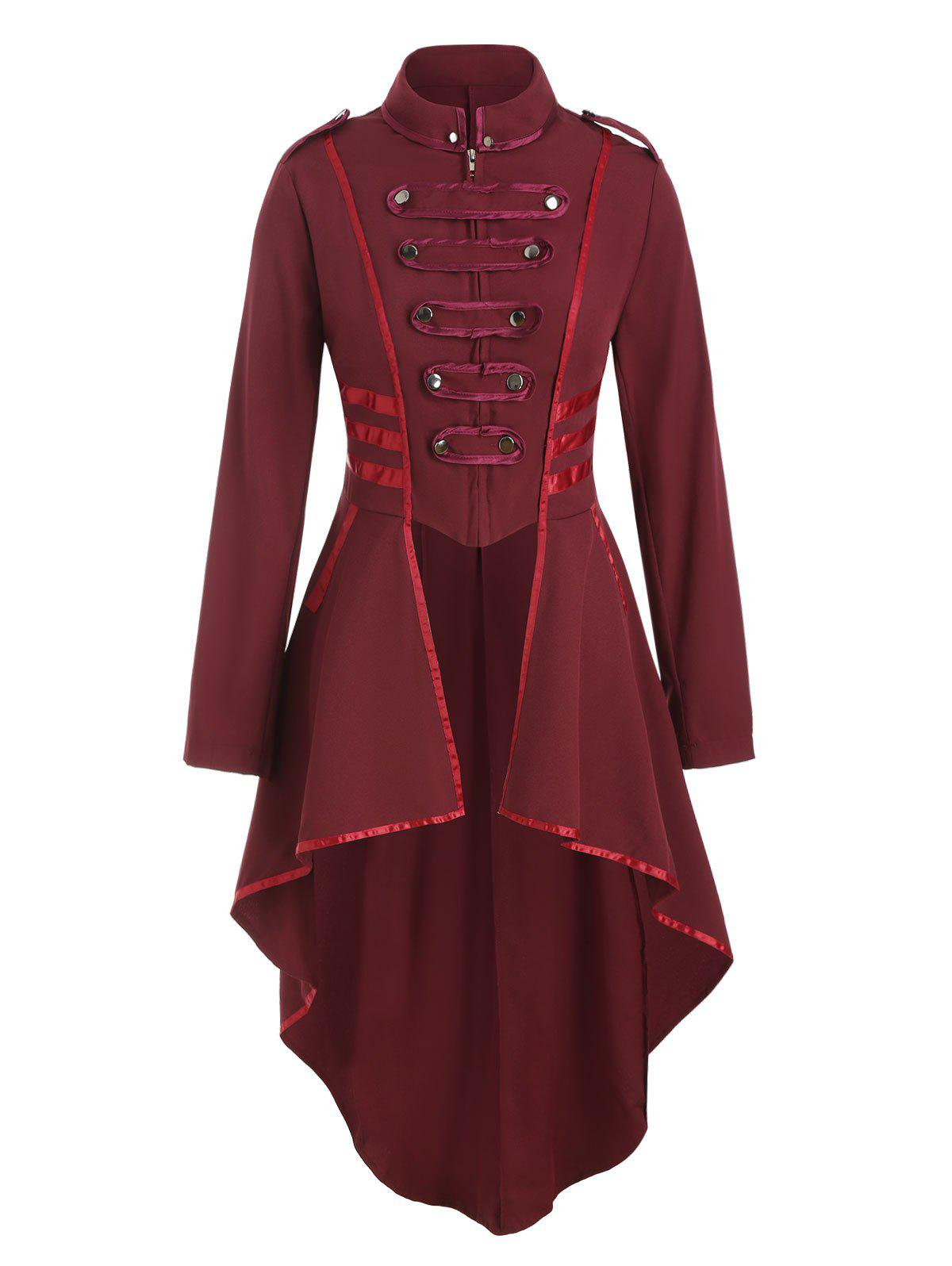 Zip Up Ribbon Patched Tail Coat - RED WINE XL