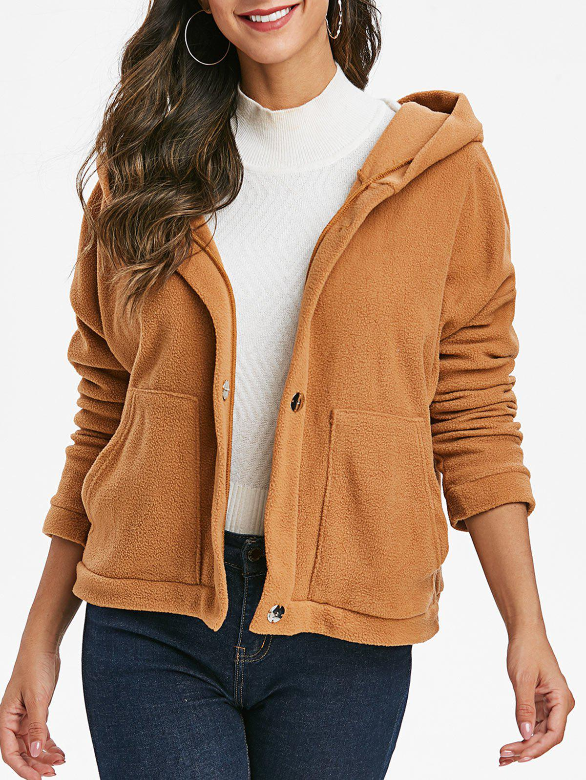Hooded Fleece Jacket - WOOD XL