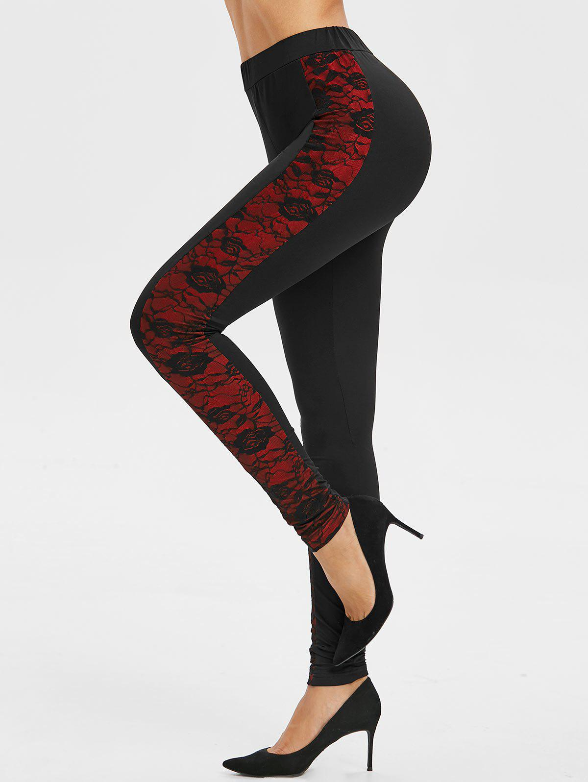 Side Lace Overlay Leggings - BLACK L