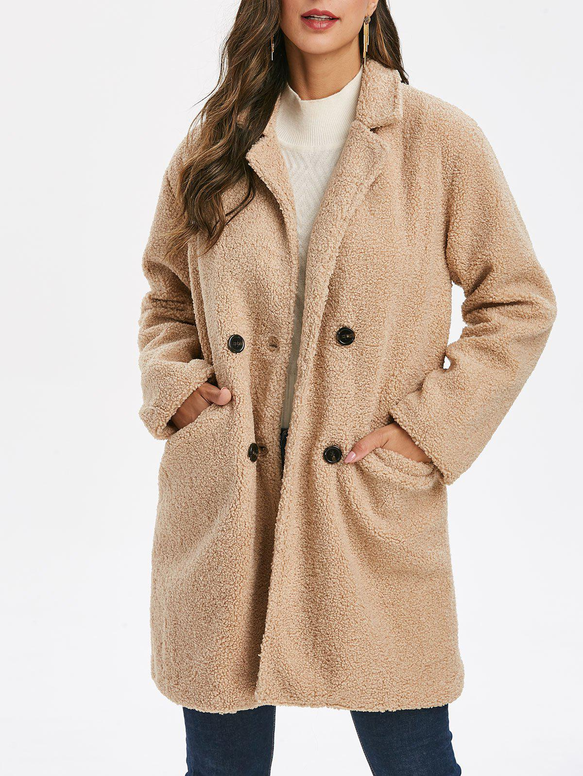 Double Breasted Solid Teddy Coat - CAMEL BROWN XL