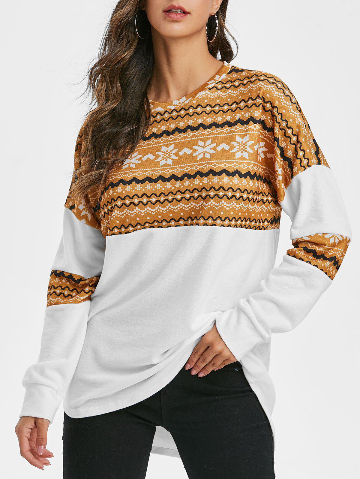 Christmas Snowflake Drop Shoulder Longline Sweatshirt - YELLOW L