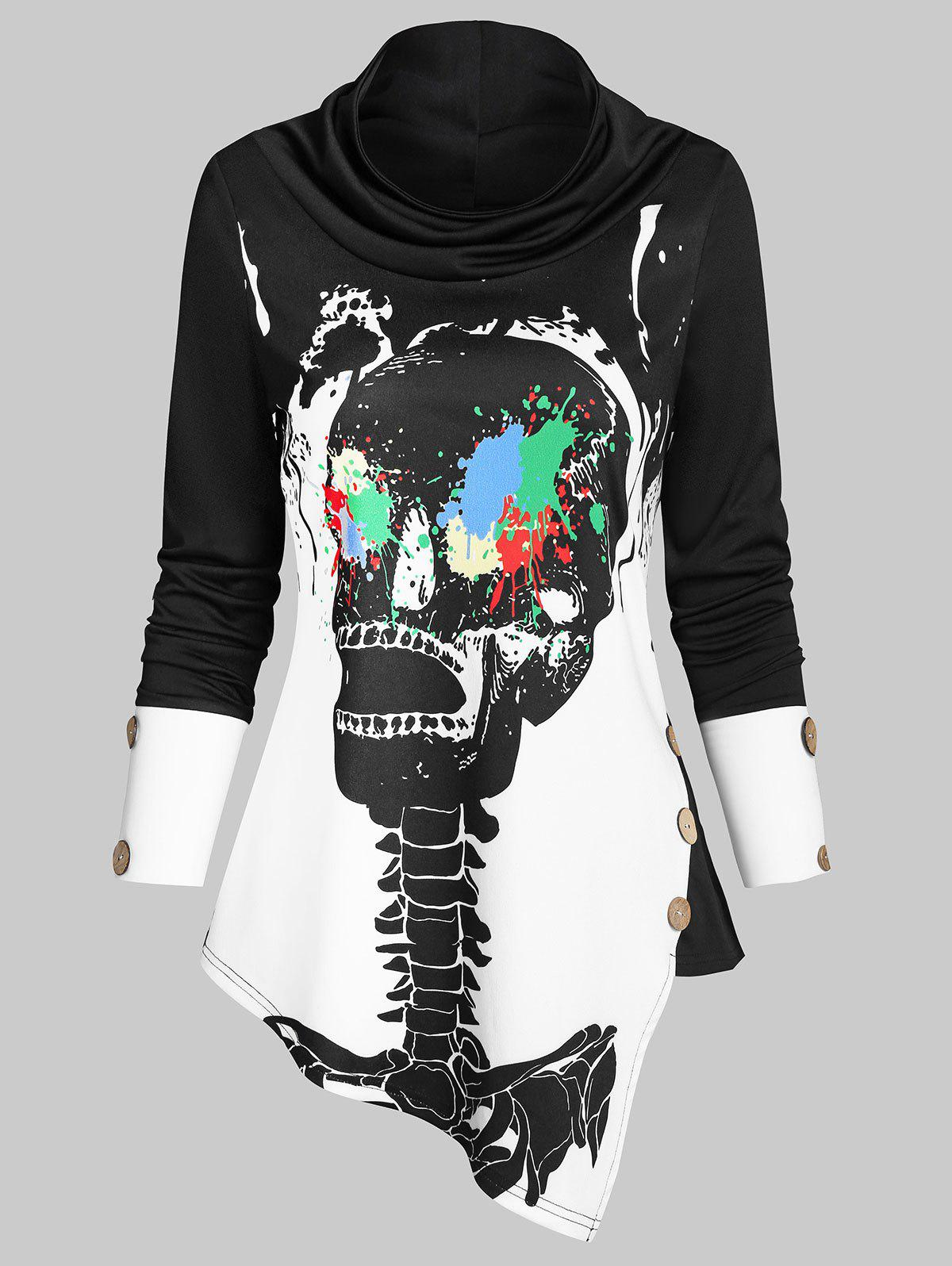 Paint Splatter Skeleton Print Button Embellished Asymmetric Sweatshirt - BLACK 3XL