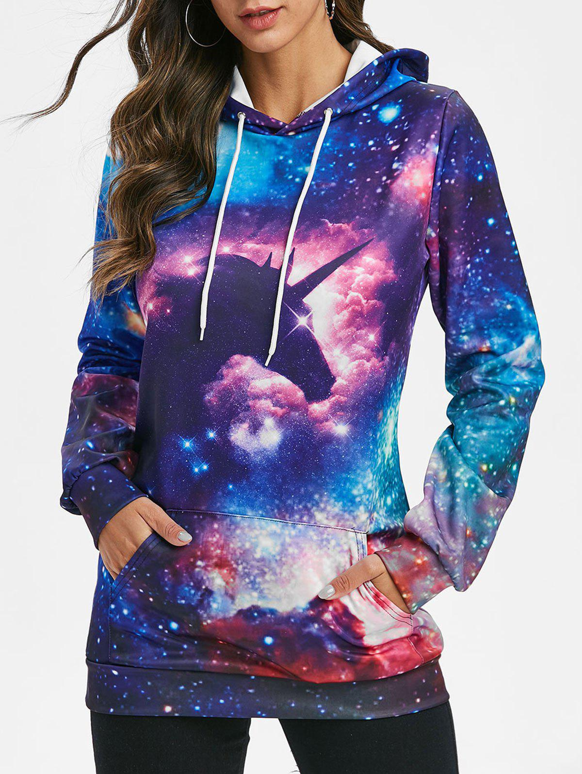 Unicorn Galaxy Kangaroo Pocket Longline Hoodie - multicolor 3XL