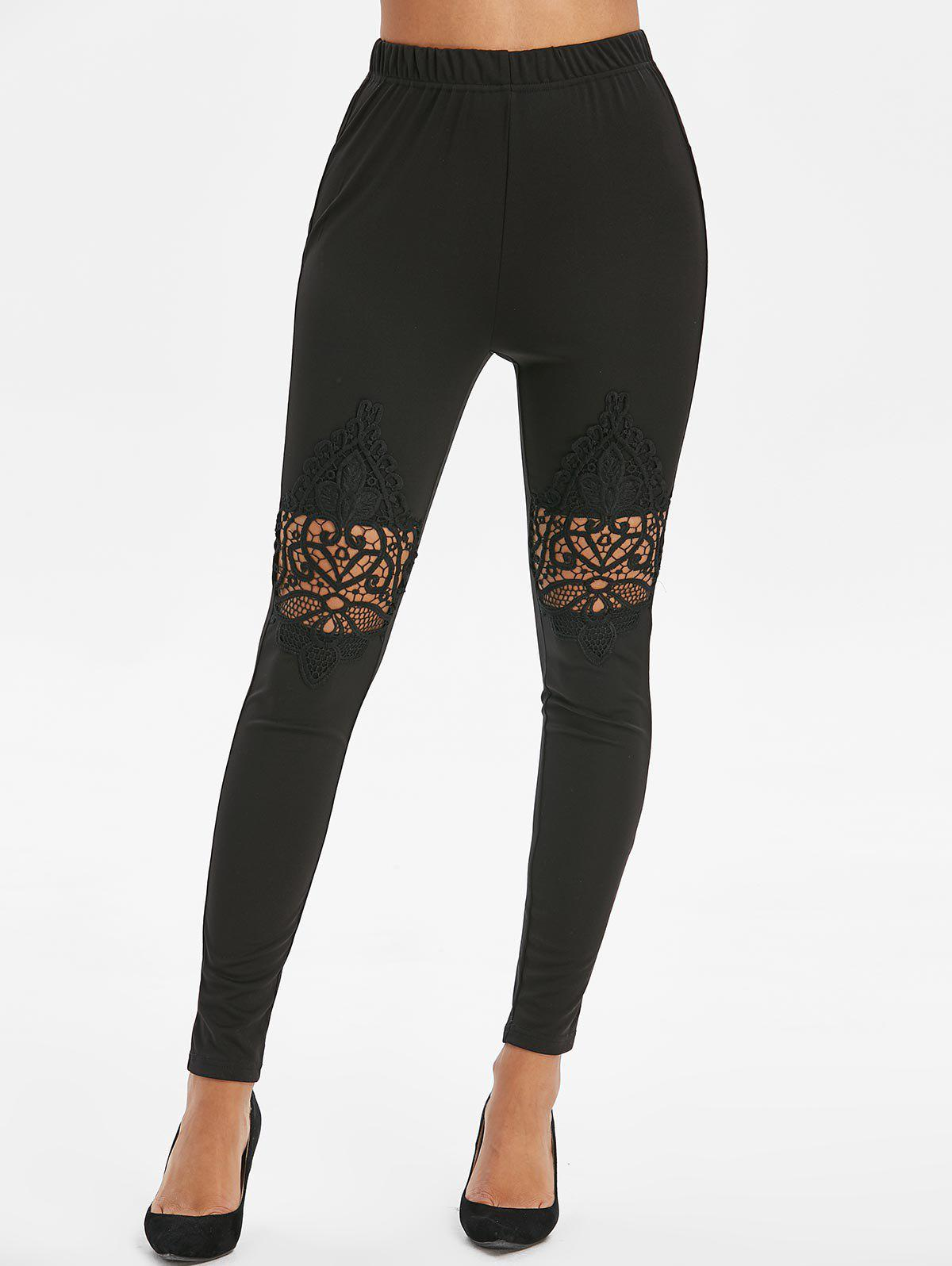 Lace Spliced Openwork High Waist Leggings - BLACK 2XL