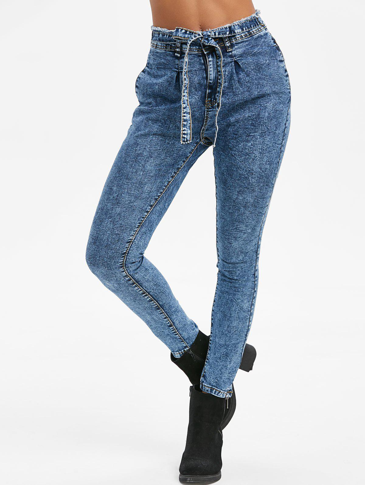 Knotted Frayed Snow Wash Skinny Jeans - CORNFLOWER BLUE L