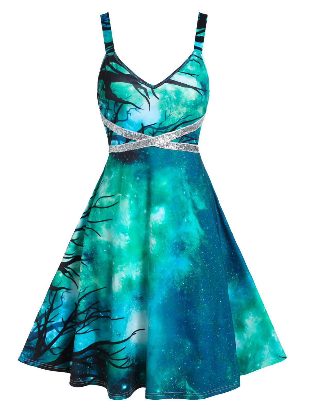 Starry Print Sequin Panel Cami A Line Dress - SEA TURTLE GREEN 3XL