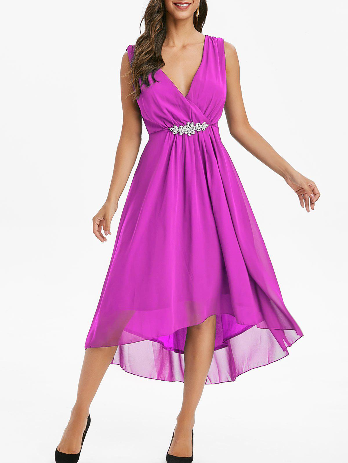 Chiffon Rhinestone High Low Surplice Dress - MEDIUM ORCHID S
