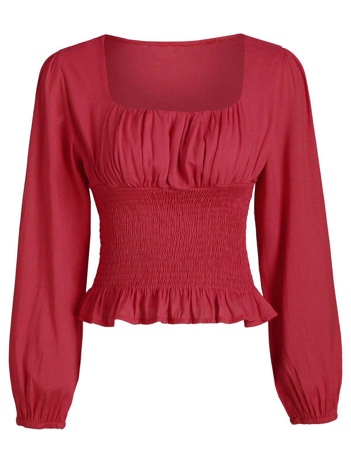 Smocked Ruffles Scoop Neck Solid Top - RED S