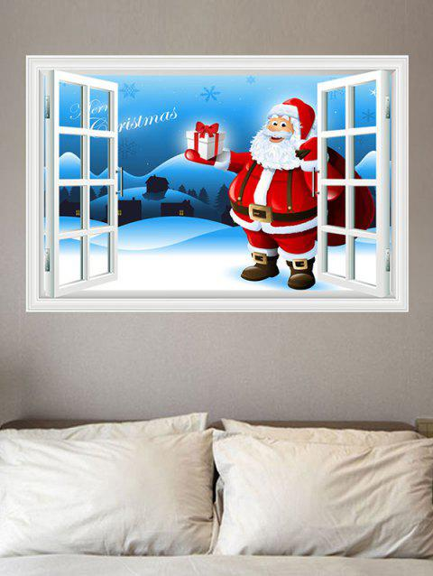 Father Christmas Gift Window Pattern Wall Sticker