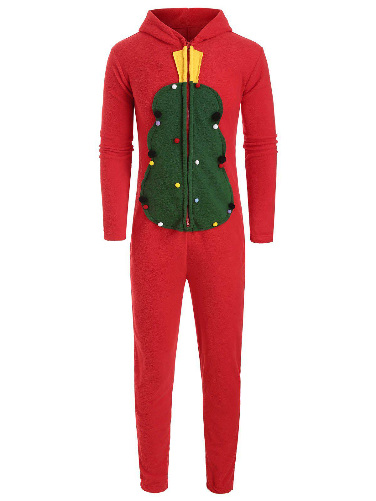 Christmas Zipper Design Hooded Overalls - RED L