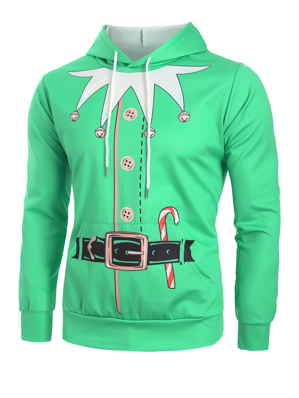 Christmas Bell Candy Faux Belt Print Drawstring Hoodie - multicolor L