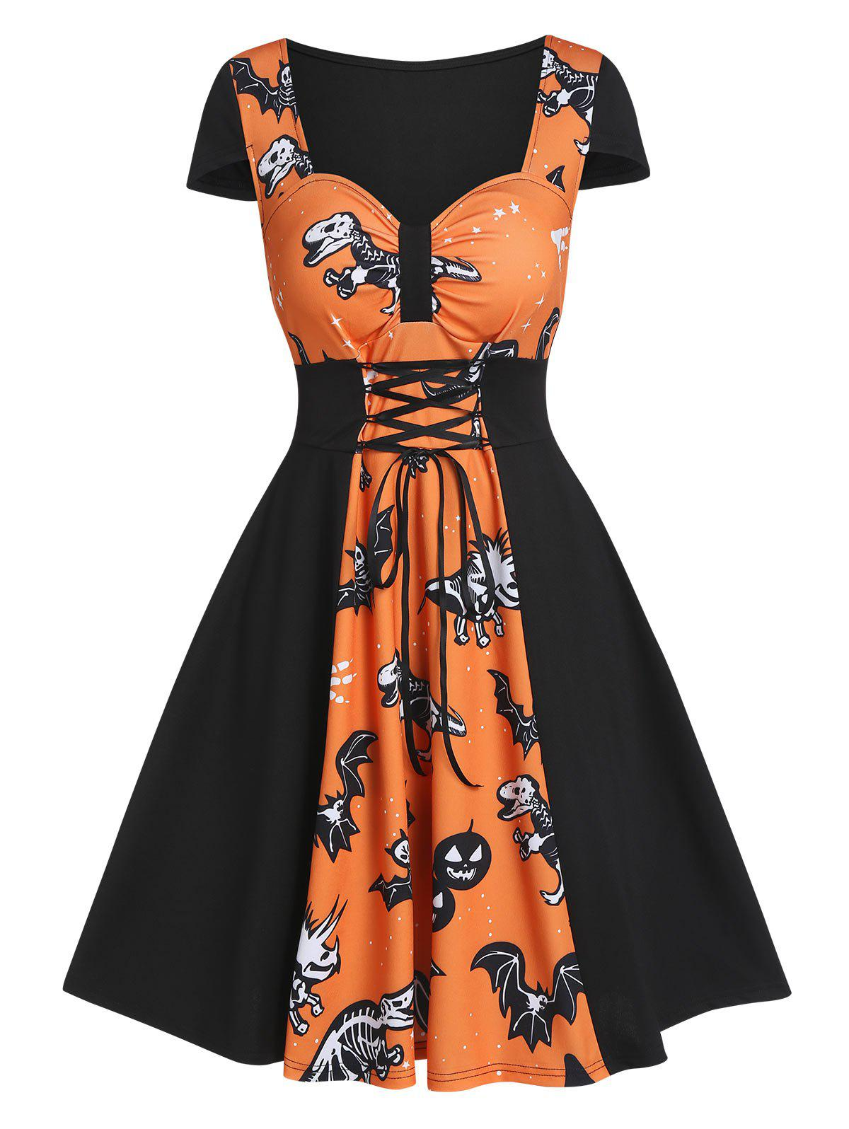 Halloween Dinosaur Skeleton Print Lace-up Mini Skater Dress - PUMPKIN ORANGE L